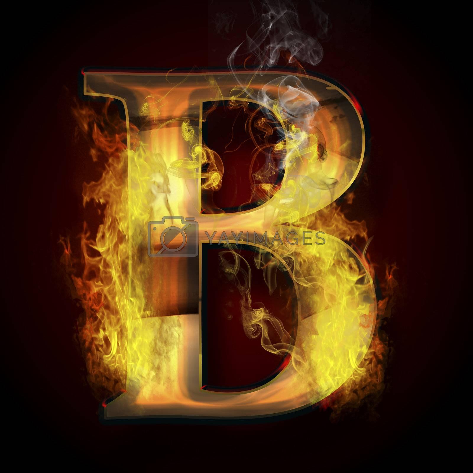 B, fire letter illustration