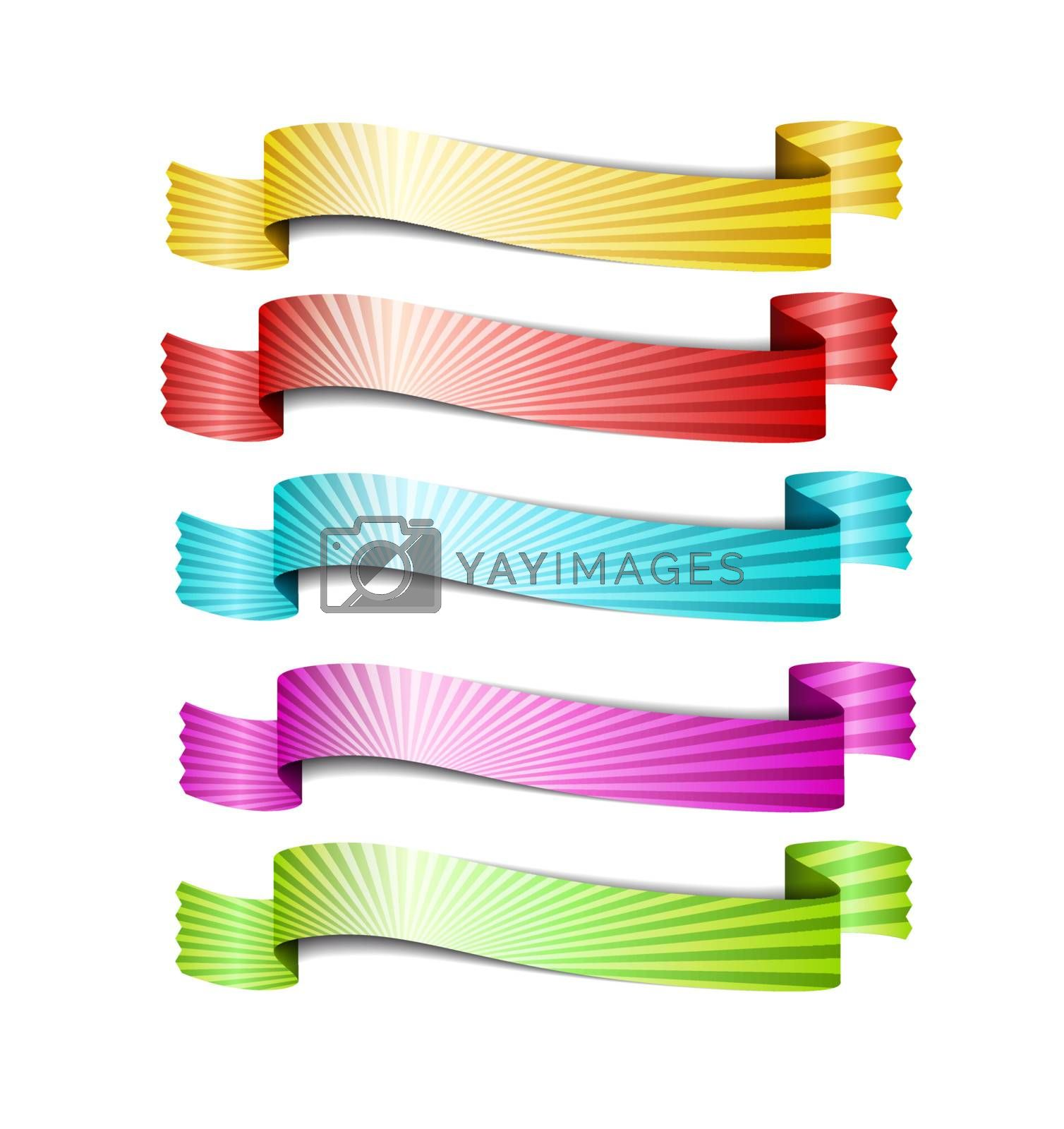 colored ribbons, isolated on white background