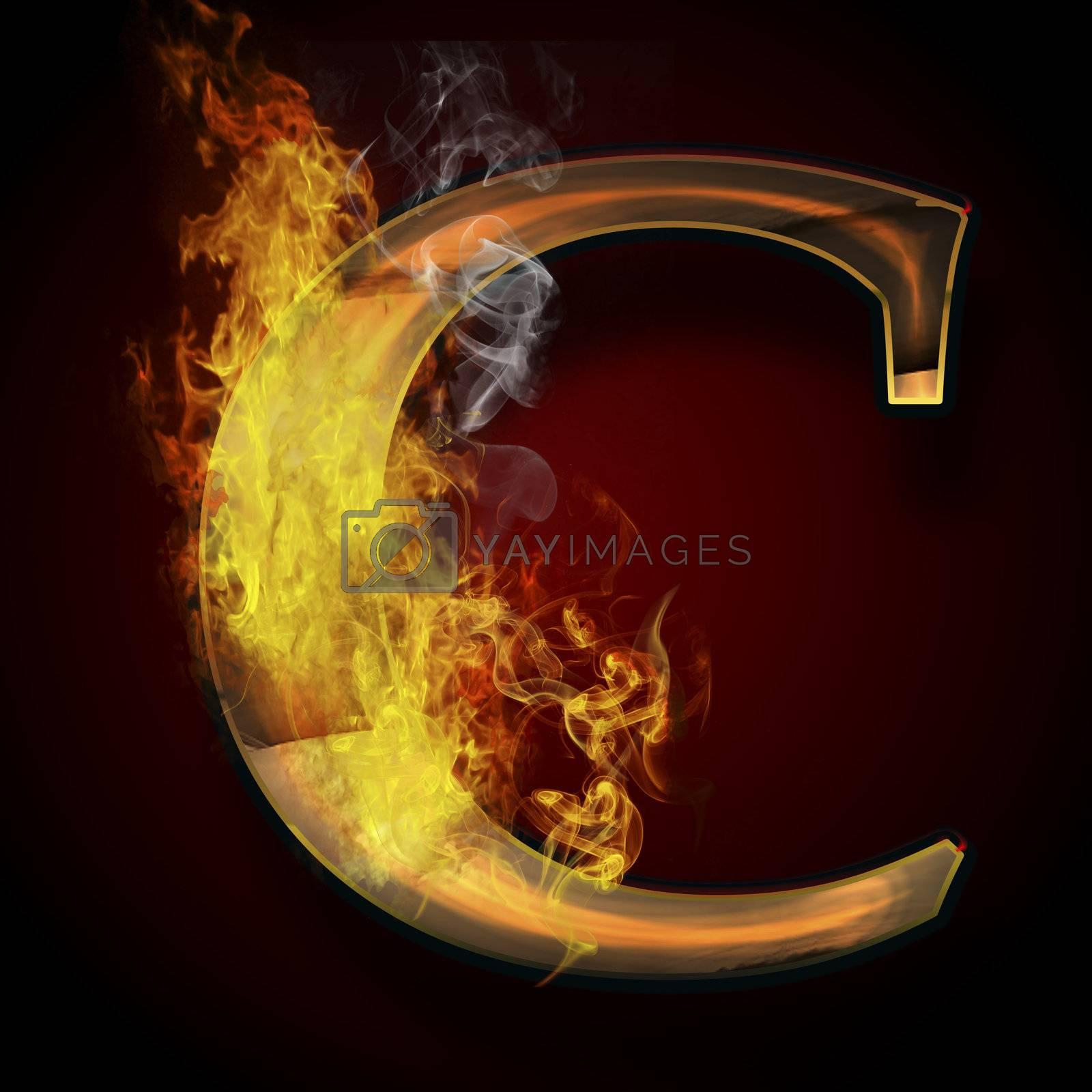 C, fire letter illustration