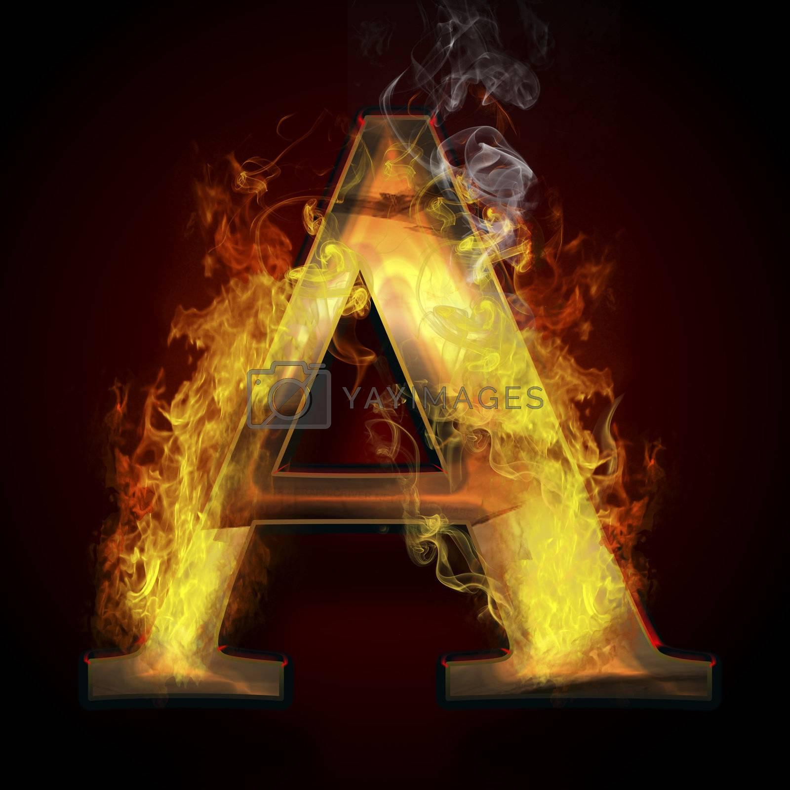 A, fire letter illustration