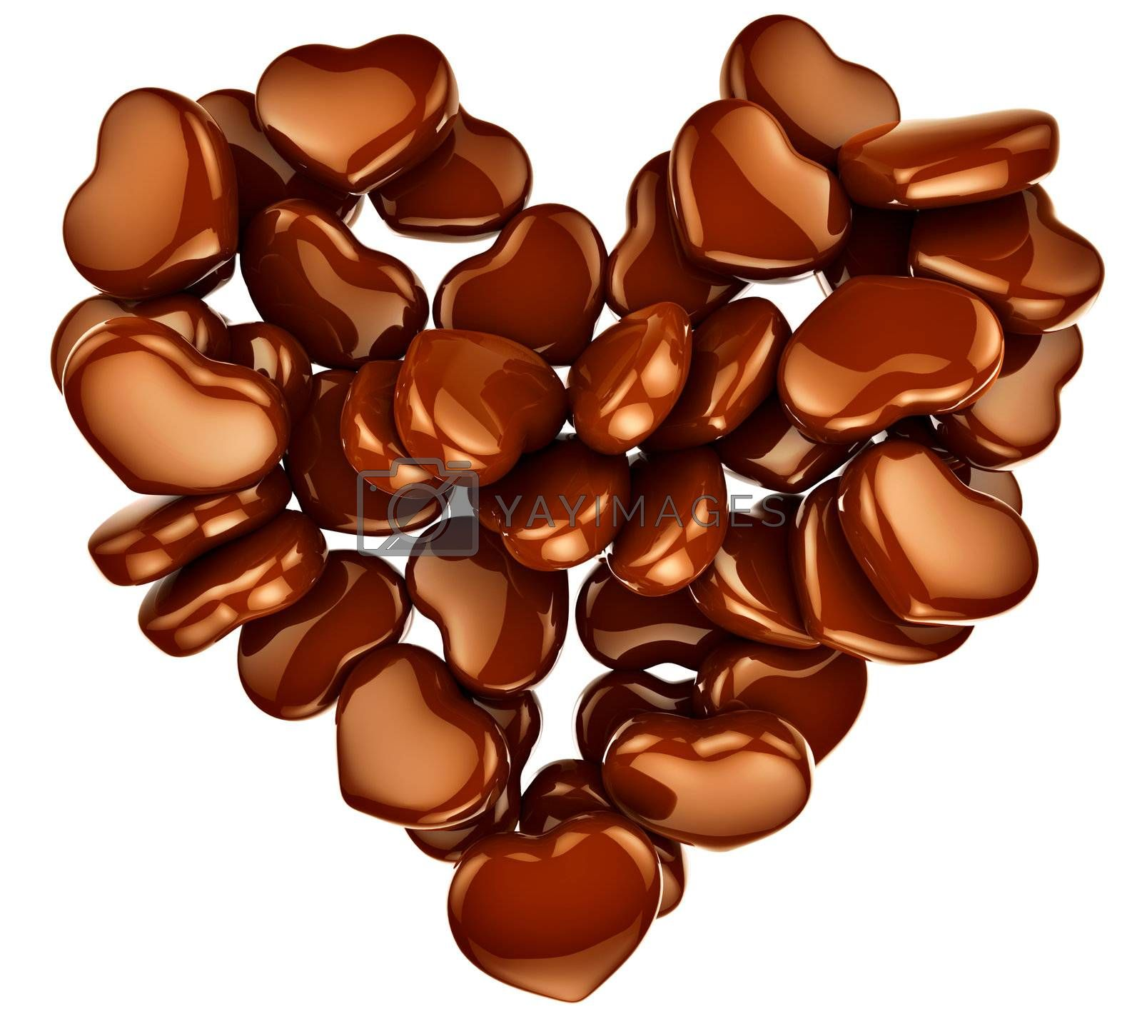 Allsorts milk chocolate in the form of heart as a sweet gift for perfect Valentine's Day.