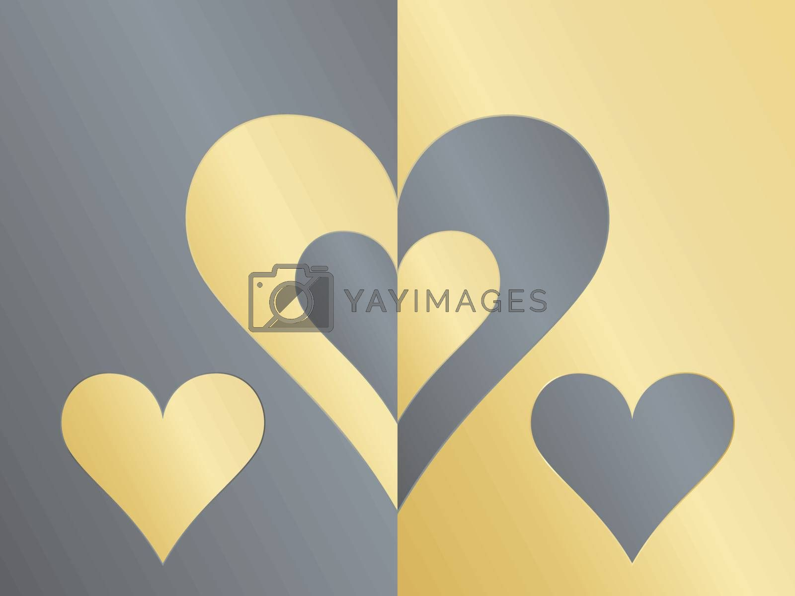 Day of Valentine background with yin yang hearts