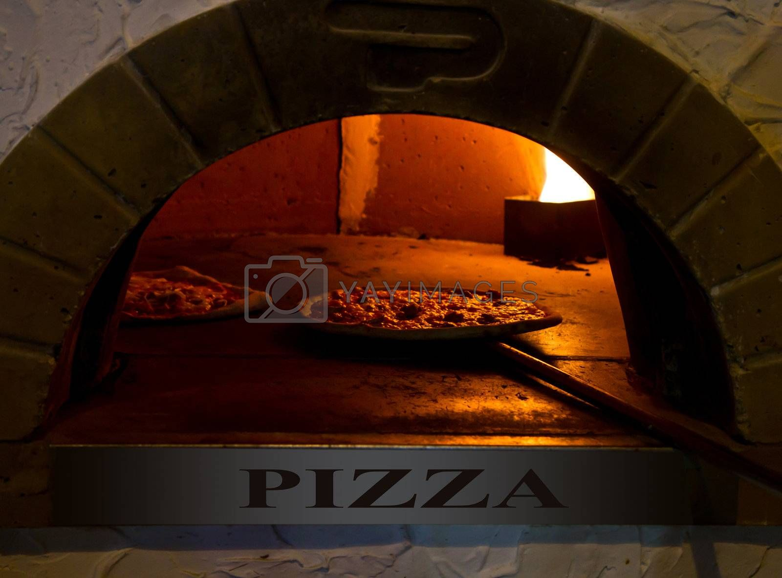 an italian Pizza baking in the oven