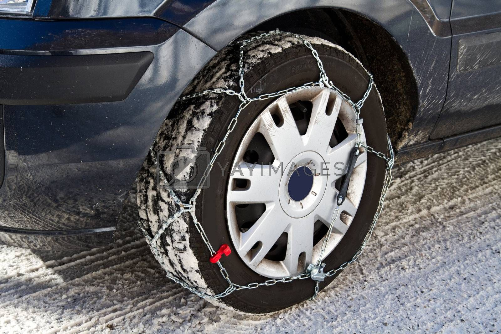a Car with snow chains