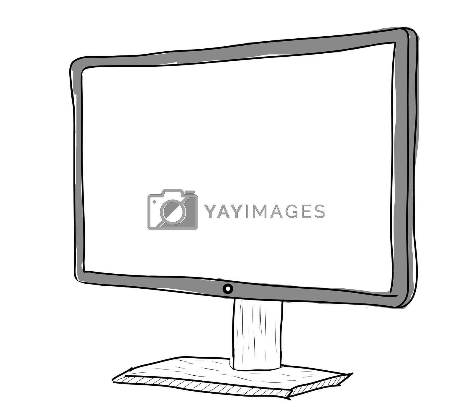 drawing monitor on a white background