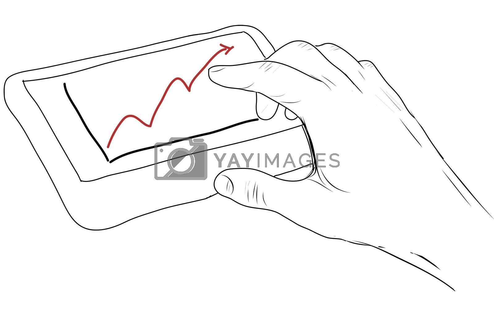 drawing  Tablet screen with graph and hand point