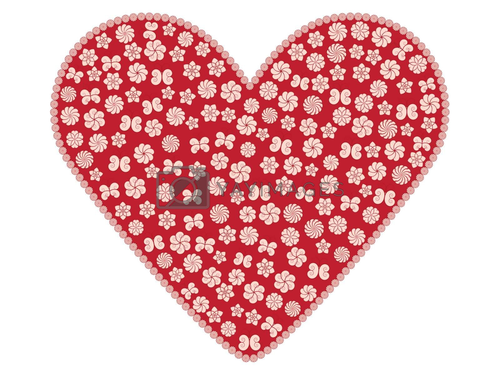 red valentine with pink flowers and butterflies
