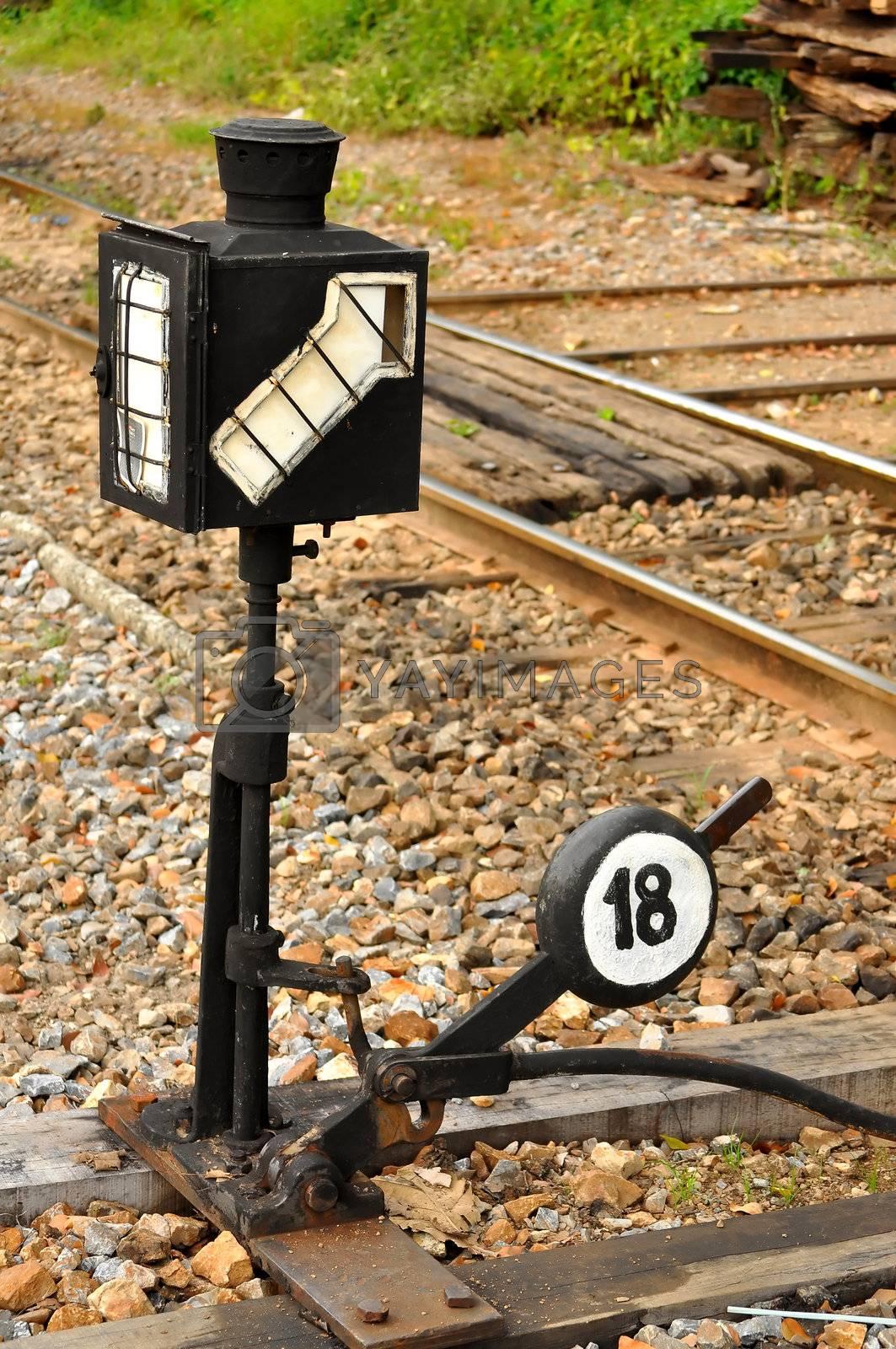 signal on railroad at railway station
