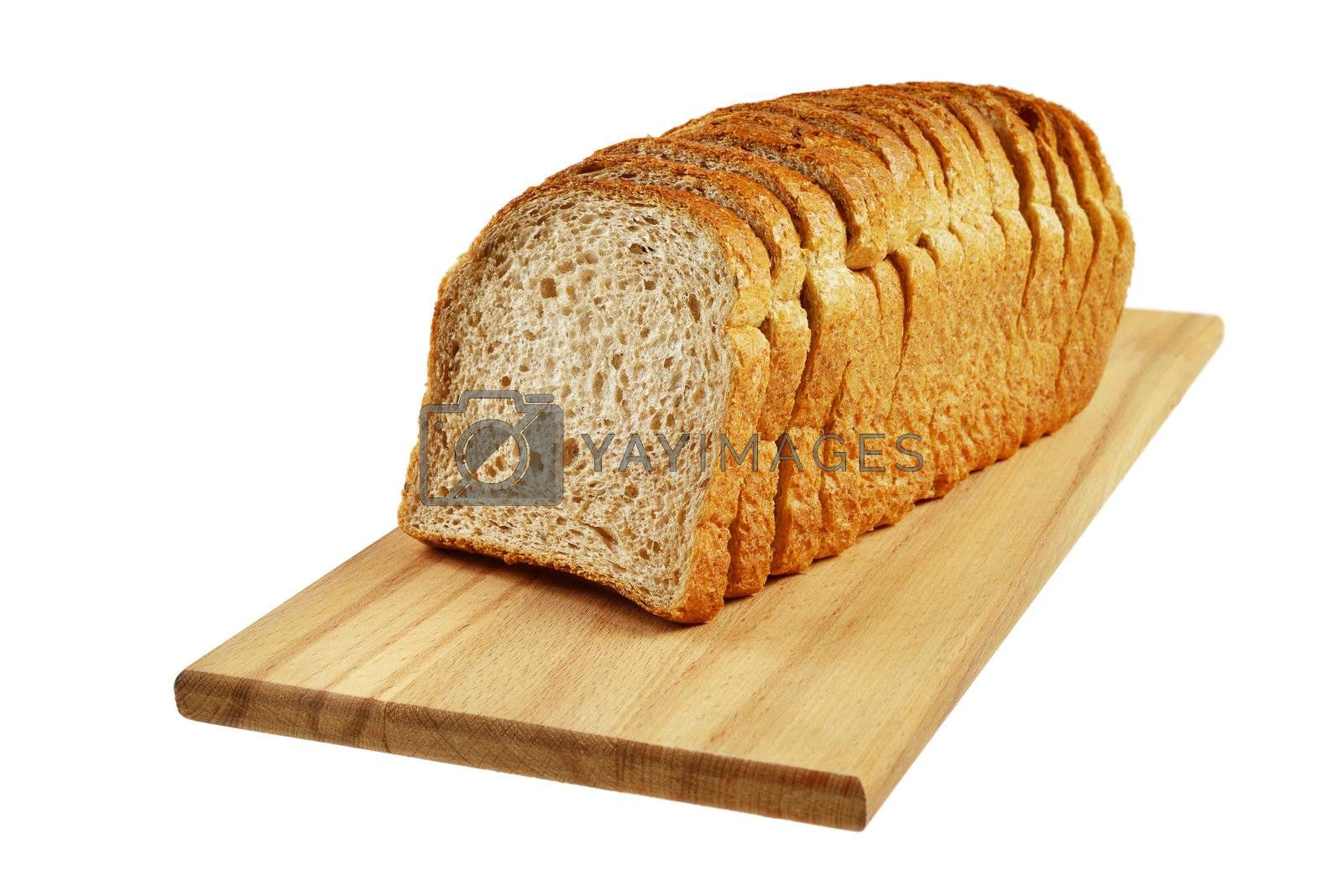 Sliced bread. Isolated on white.
