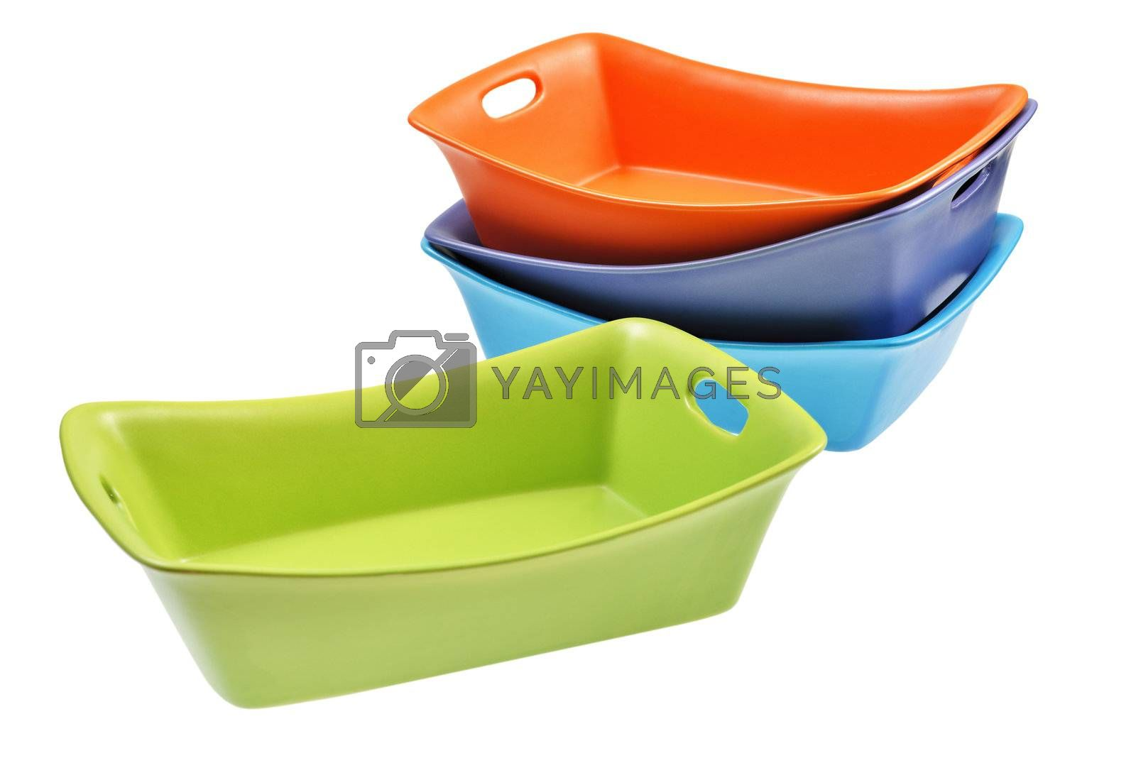 Ceramic baking dish set. Isolated on white background