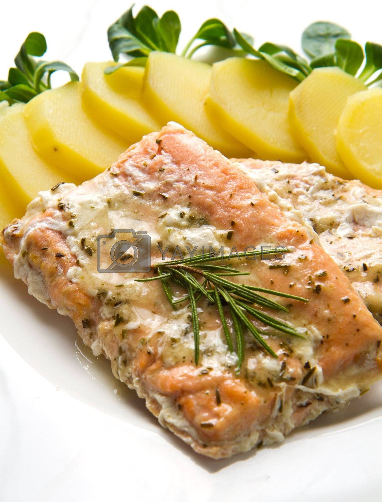 white dish with salmon fillet and potatoes