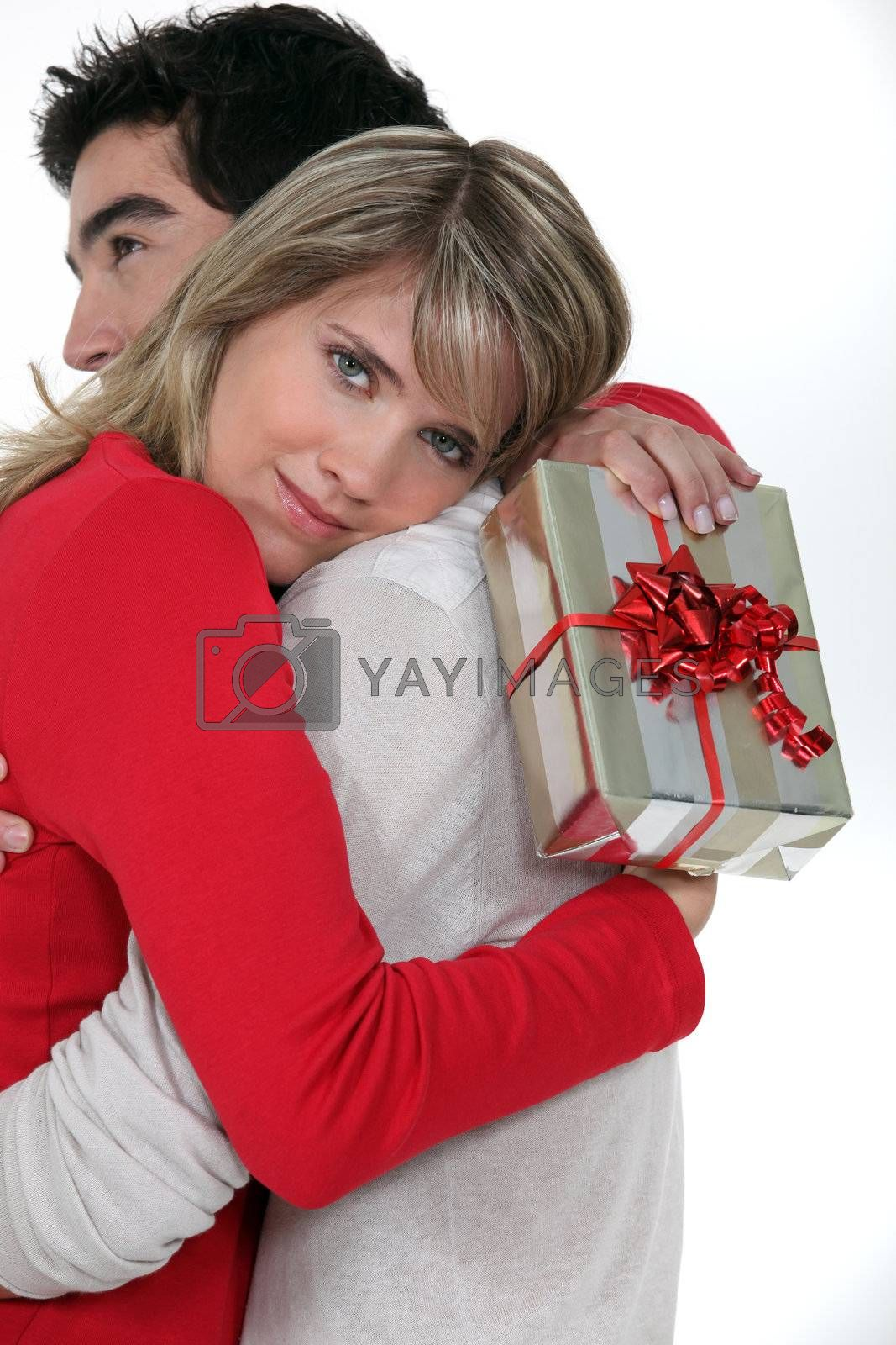 Woman thanking her boyfriend for his gift Jesus_Michael_220311,Belloche_Lola_220311