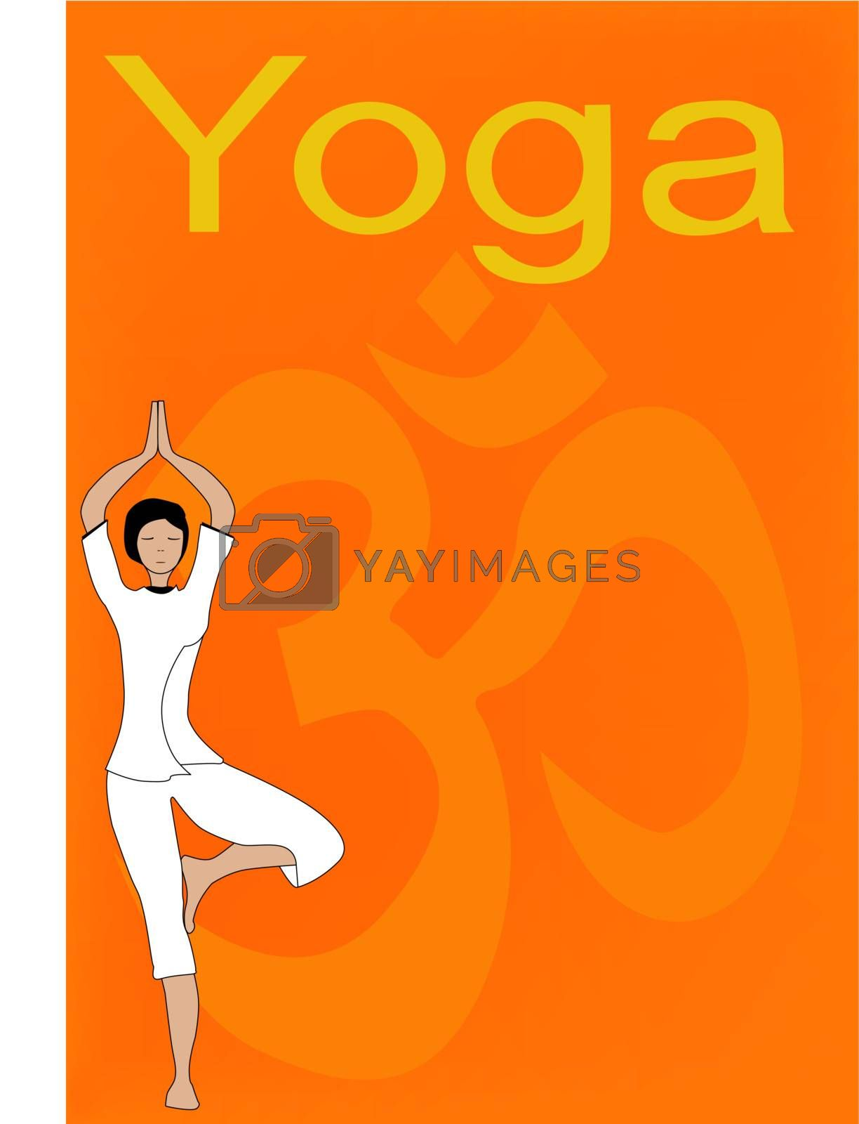 A text ready poster for a yoga event or venue eith the traditional 'om, sign in the background.