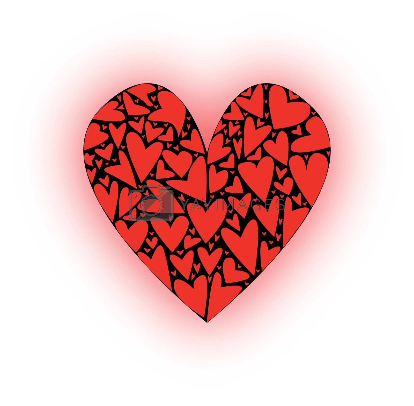 A large heart made up of several smaller hearts against a blacj background.
