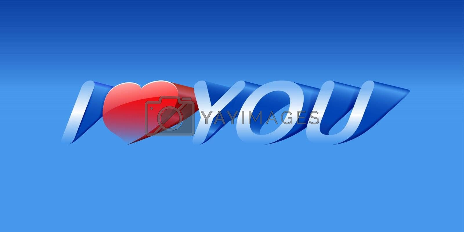 vector love message on blue background, eps10 vector, gradient mesh and transparency used
