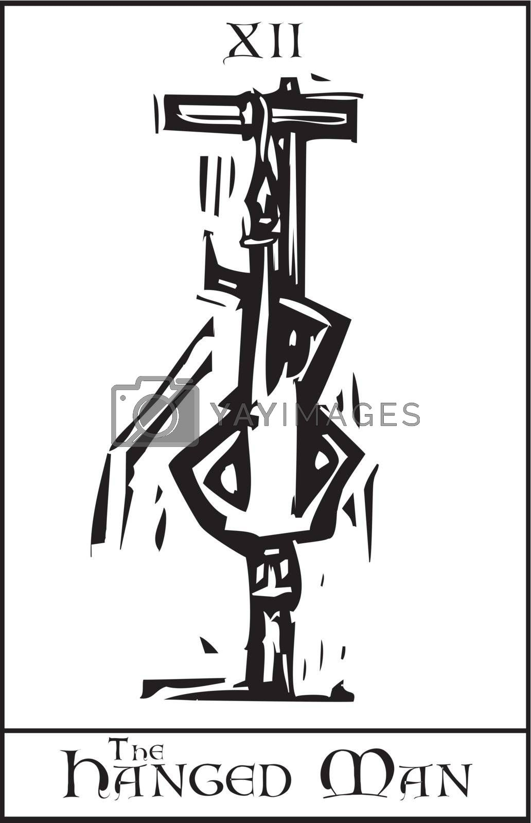 Woodcut expressionist style Tarot Card Major Arcana image of the Hanged Man