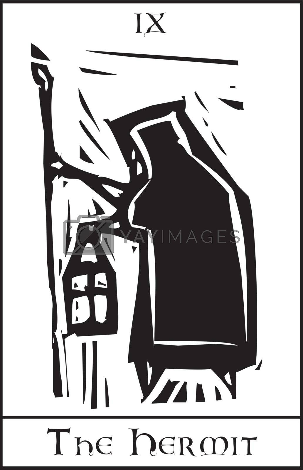 Woodcut expressionist style Tarot card image of the Hermit