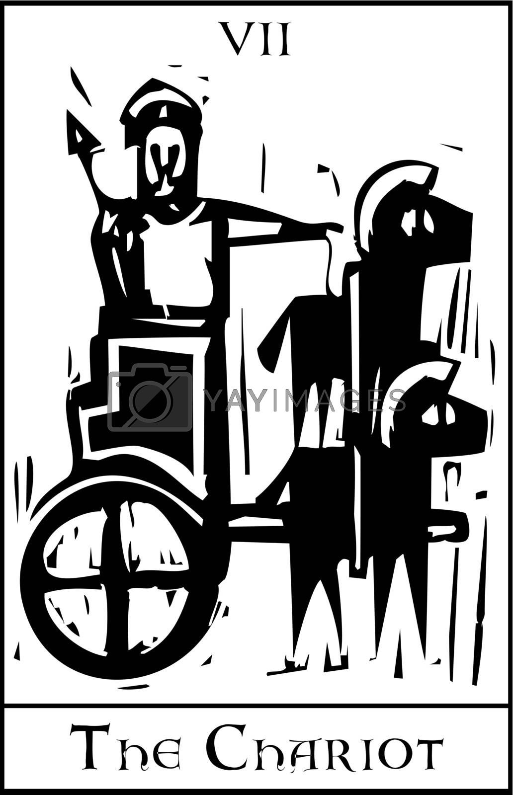 Woodcut expressionist style image for the Tarot card of the Chariot.