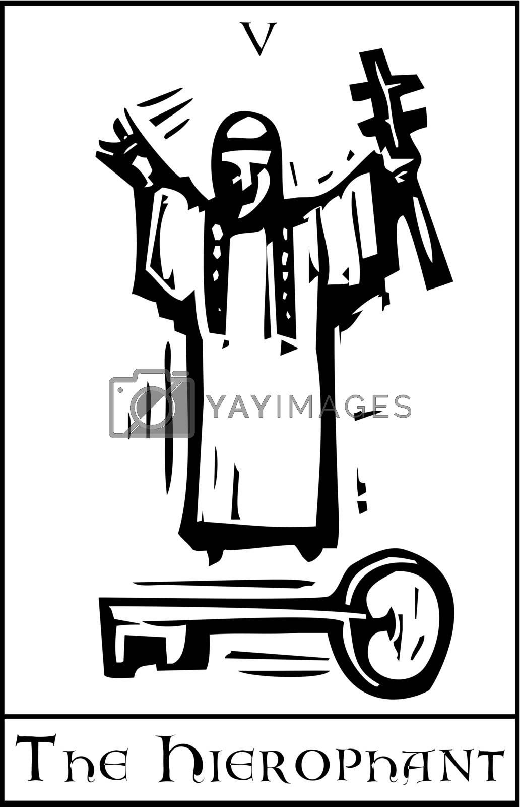 Woodcut expressionist style Tarot card  for the Hierophant