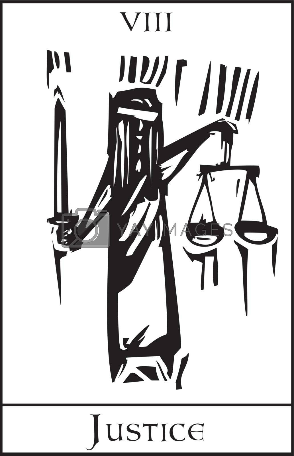 Woodcut expressionist style Tarot Major Arcana image of Justice