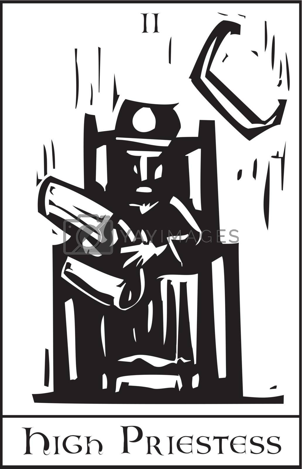 Woodcut expressionist style image of the Tarot Card for the Priestess.