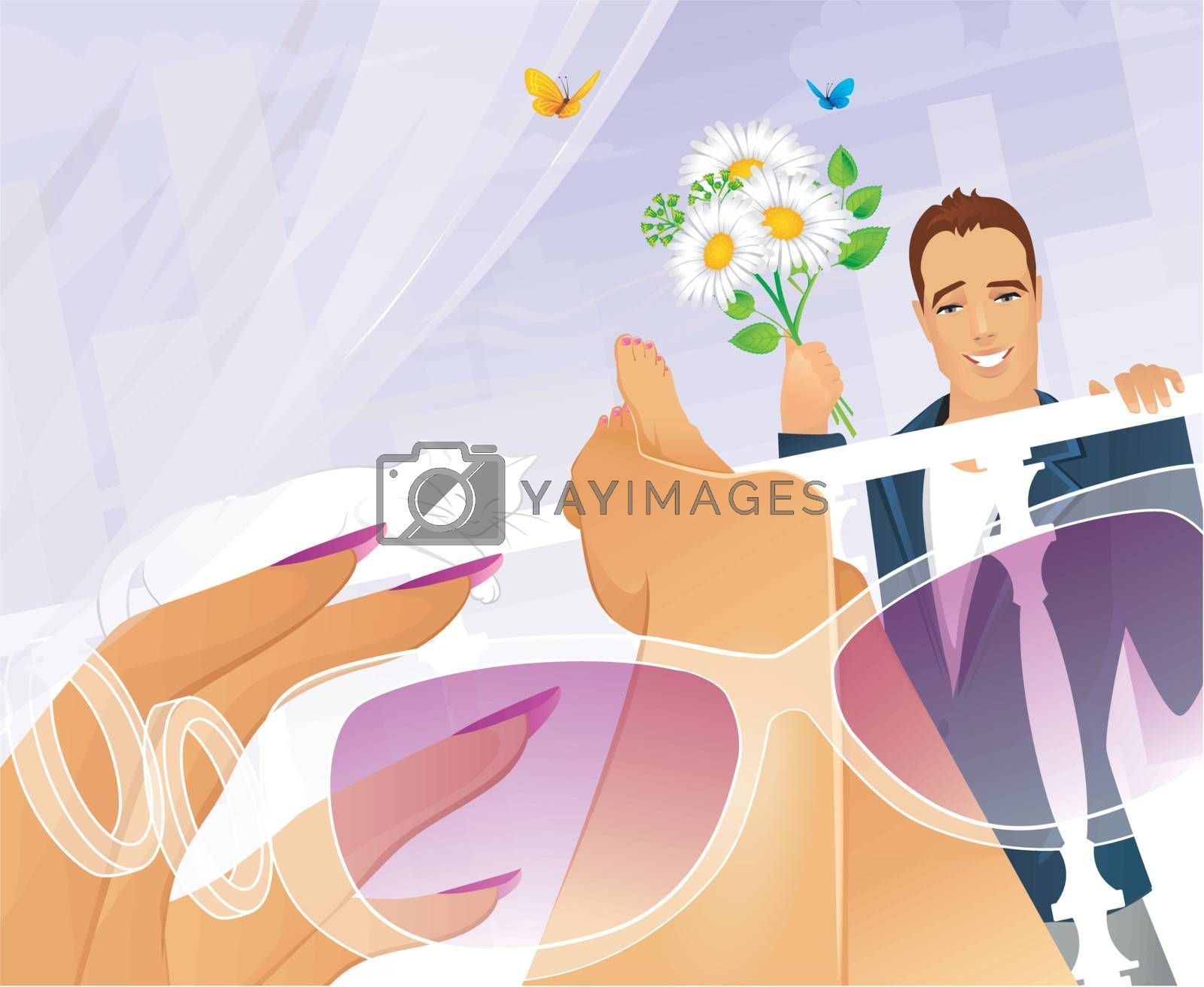 Vector illustration of Romance in the Big City