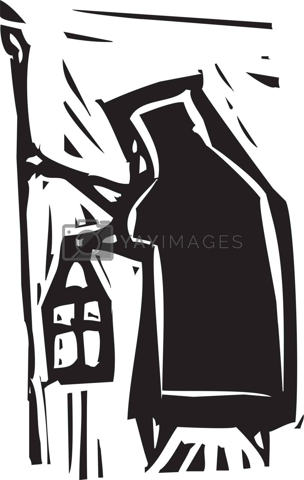 Woodcut expressionist style image of an old woman with a staff and lamp.
