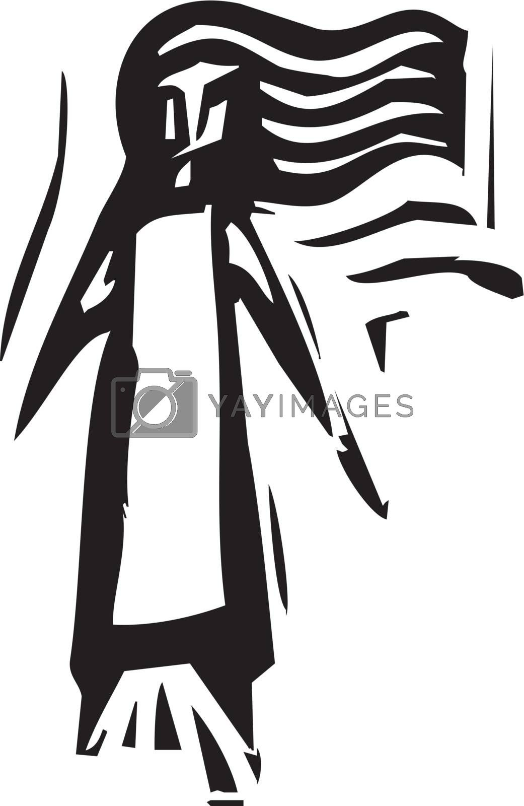 Woodcut expressionist style image of a girl with long hair.