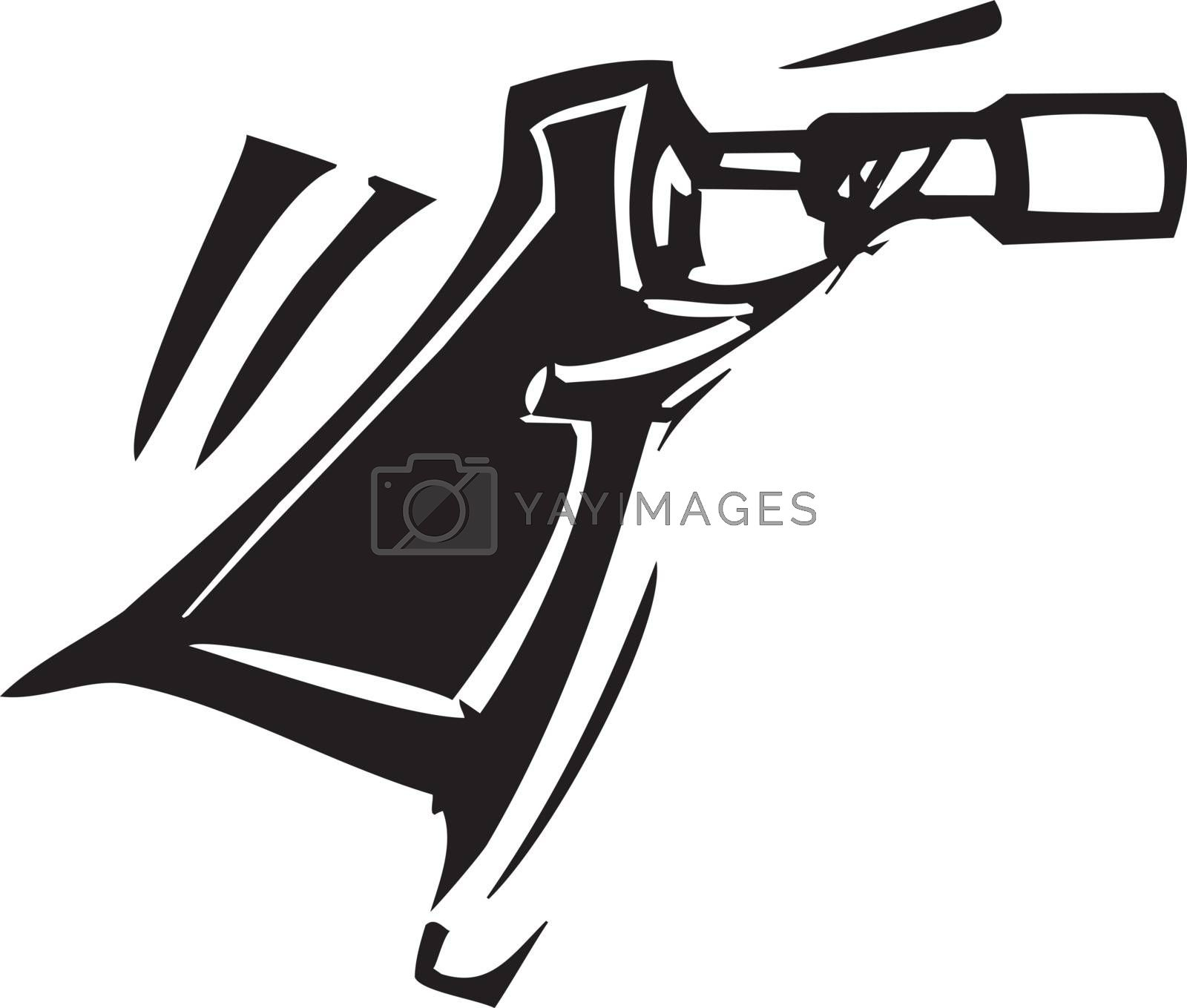 Woodcut expressionist style image of a spy with a telescope.