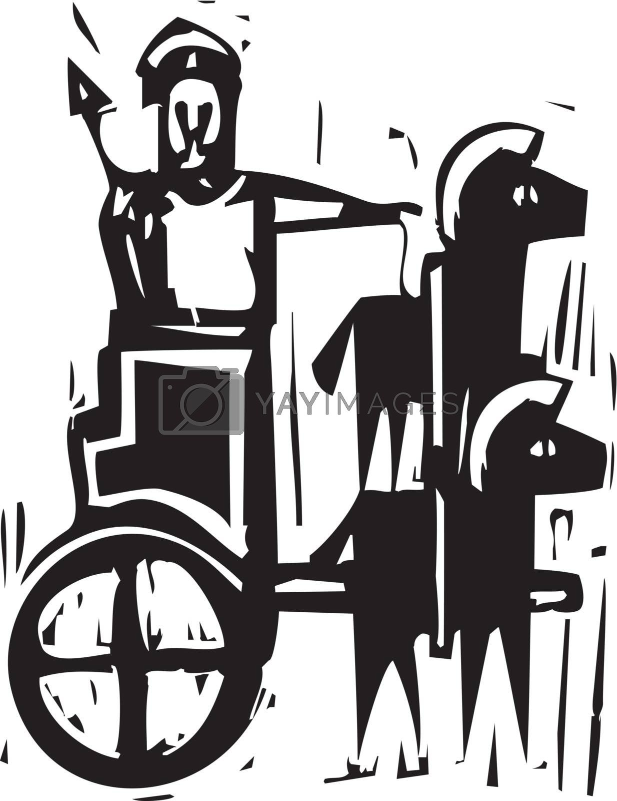 Woodcut expressionist style image a Greek warrior in a chariot drawn by two horses