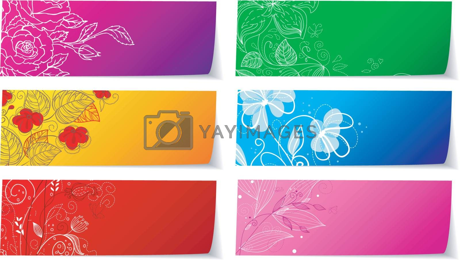 Vector illustration of Floral stickers