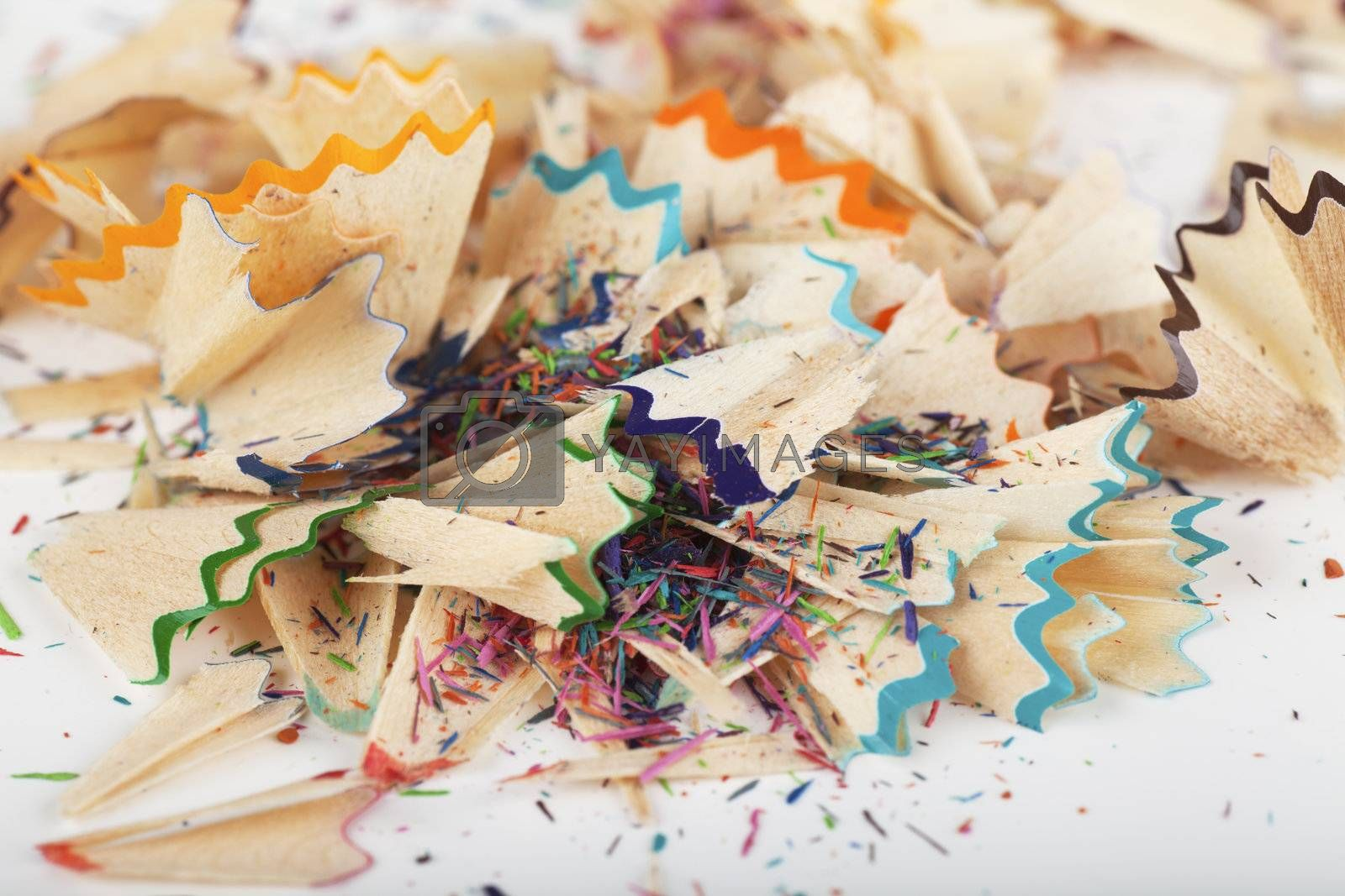 Macro view of colorful blue, green, orange and red pencil peels
