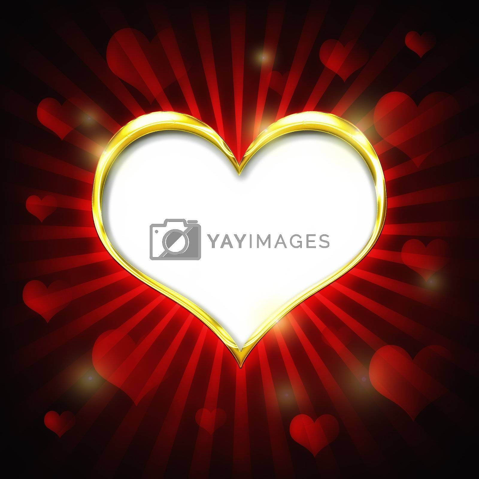Valenties Day Card with a big golden heart and many smaller hearts on a red background