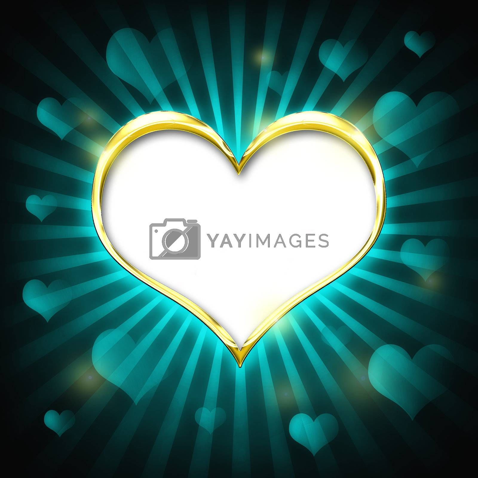 Valenties Day Card with a big golden heart and many smaller hearts on a green background