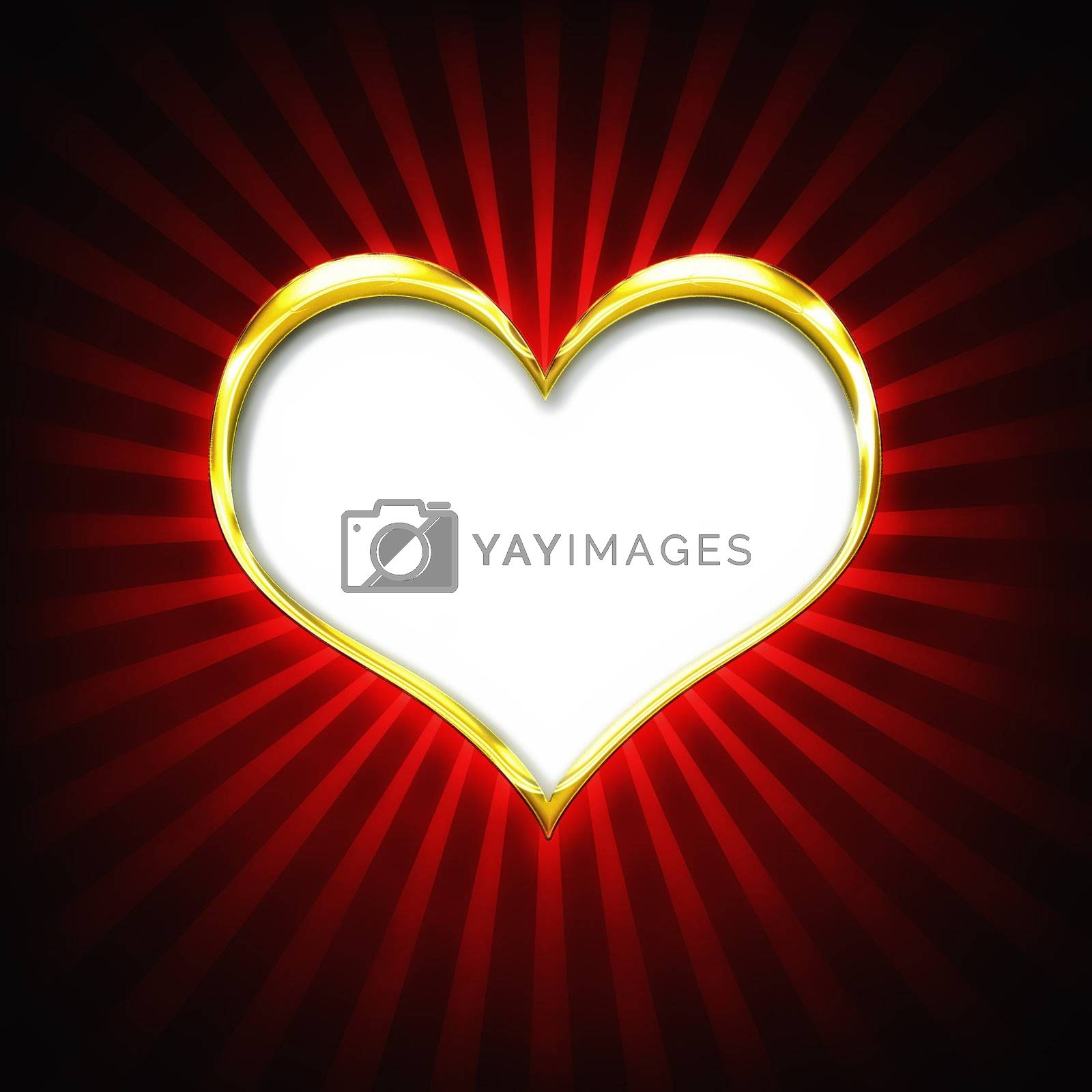 Valenties Day Card with a big golden heart on a red background