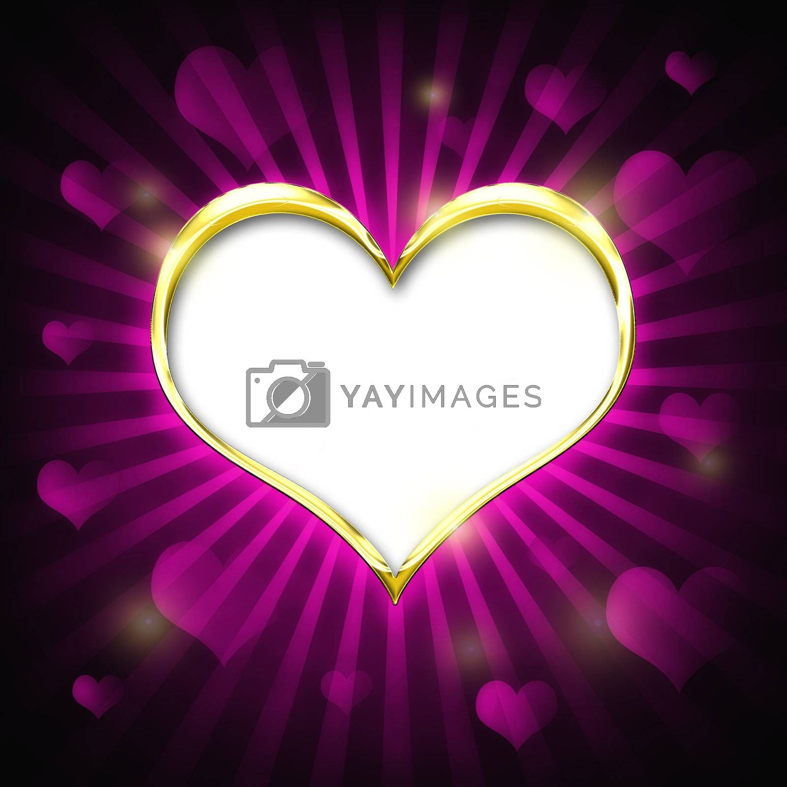 Valenties Day Card with a big golden heart and many smaller hearts on a pink background