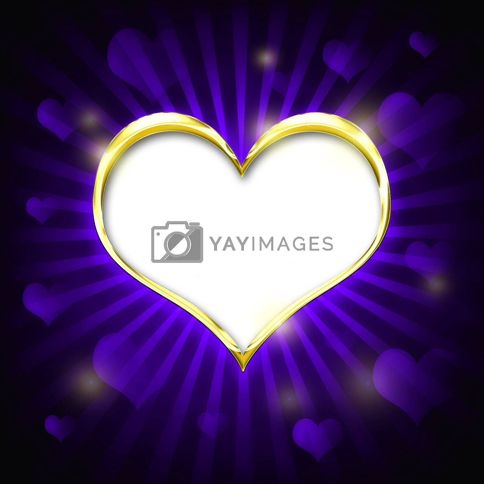 Valenties Day Card with a big golden heart and many smaller hearts on a purple background