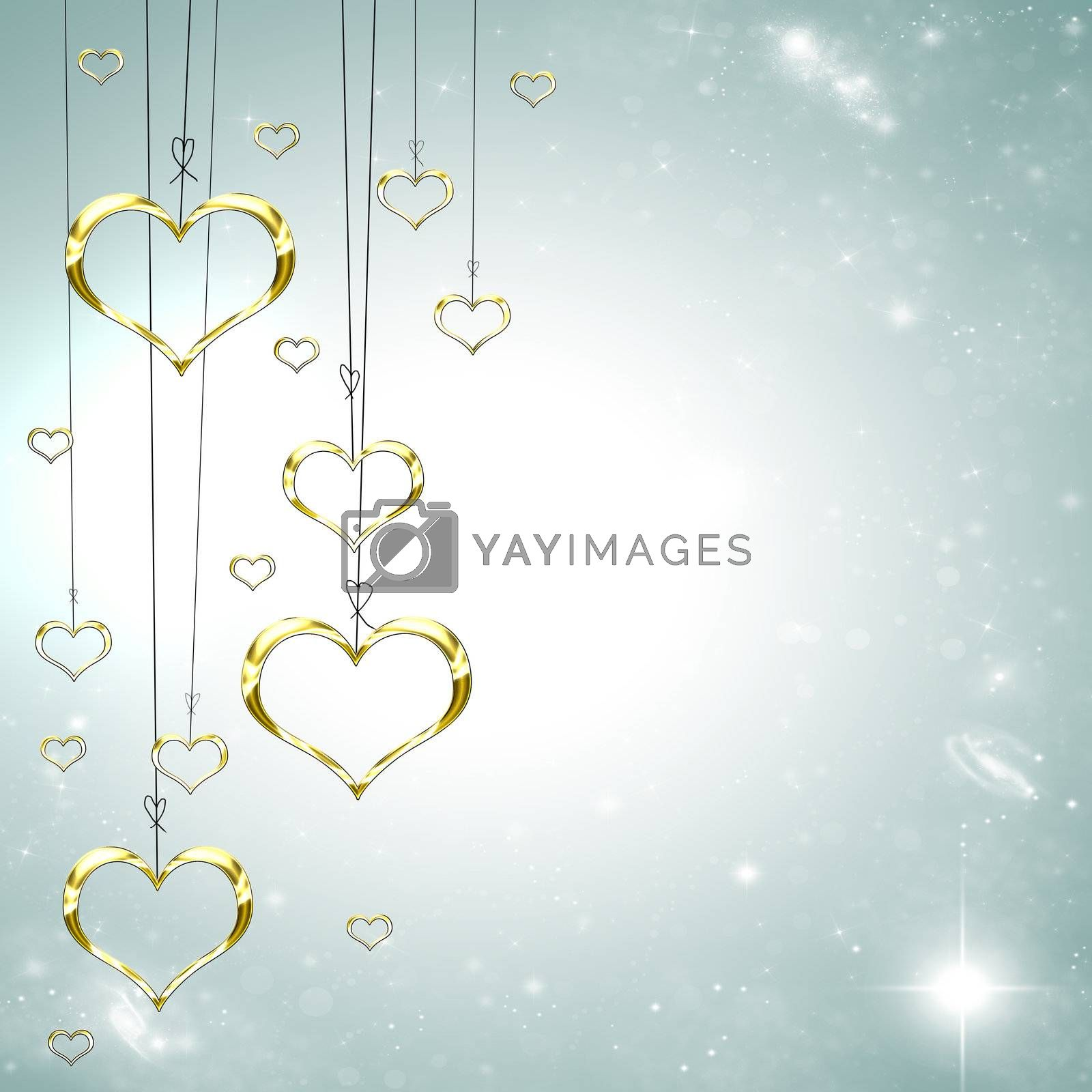 Valenties Day Card with golden hearts on a starry bright background