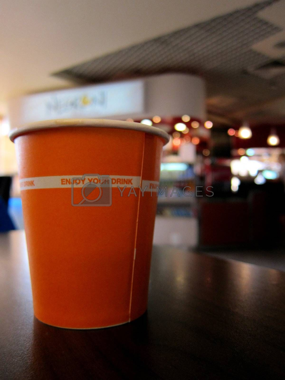 drink in the cup at the airport or office