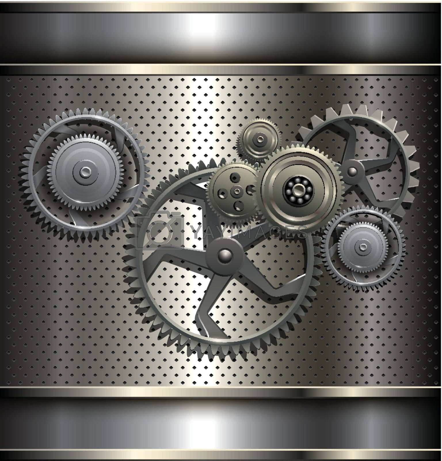 Metallic, technology background with metal gears, vector.