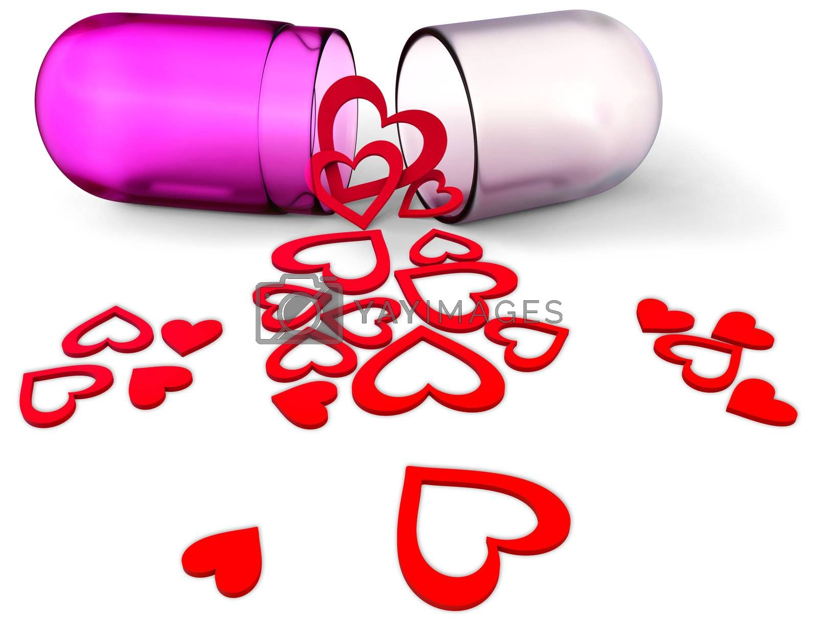 3d lilac love pill with assorted red hearts inside has opened and its contents are scattered as symbolizing victory of love on Valentine's Day