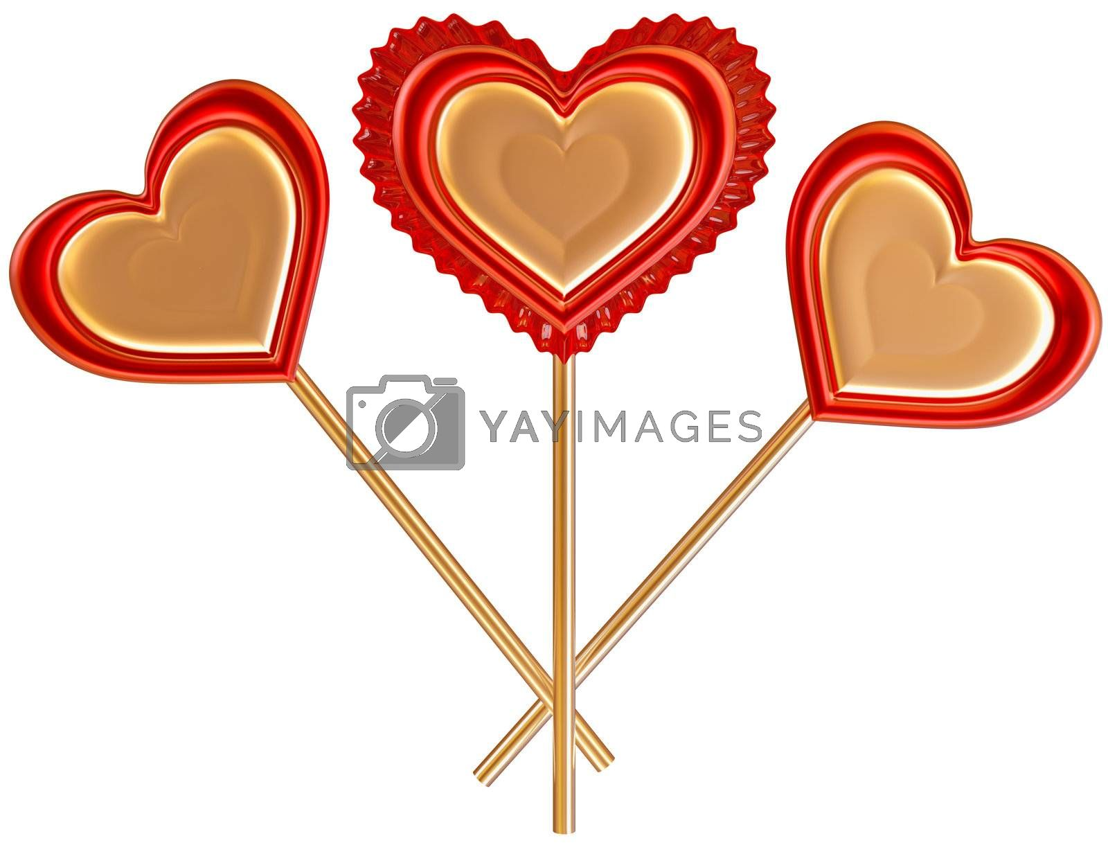 three golden and red lollipops on white background