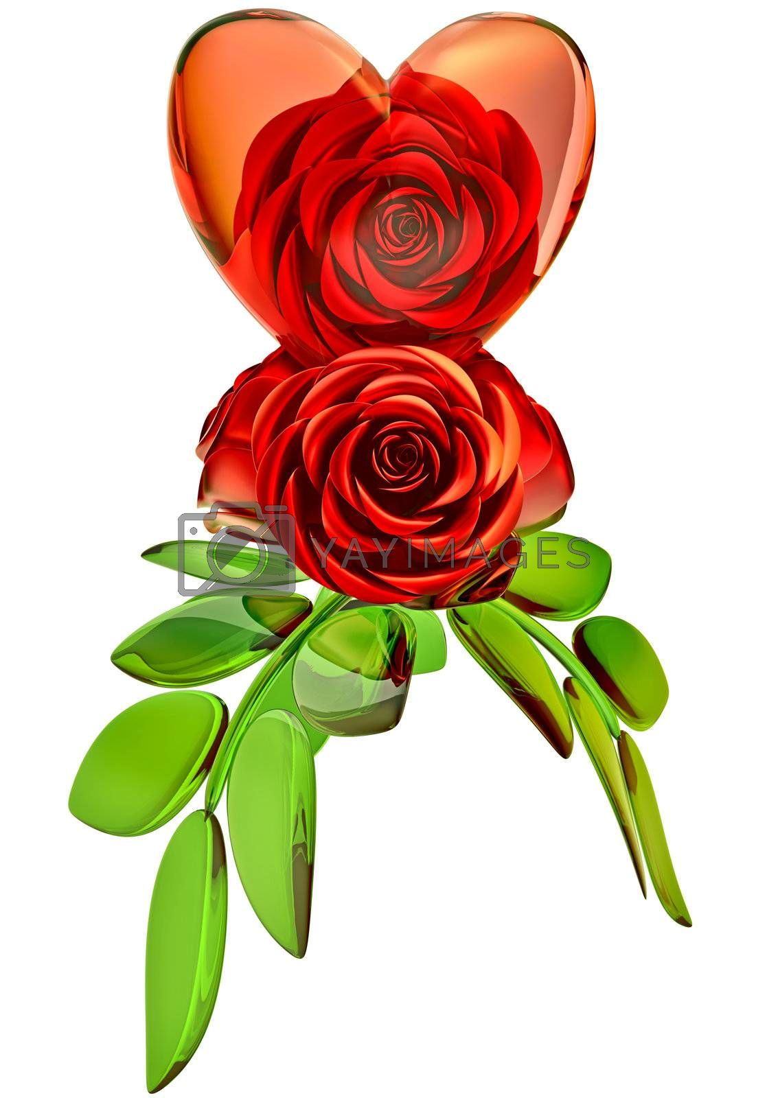 beautiful red roses with green leafs and glass heart as decoration for celebration of Valentine's Day