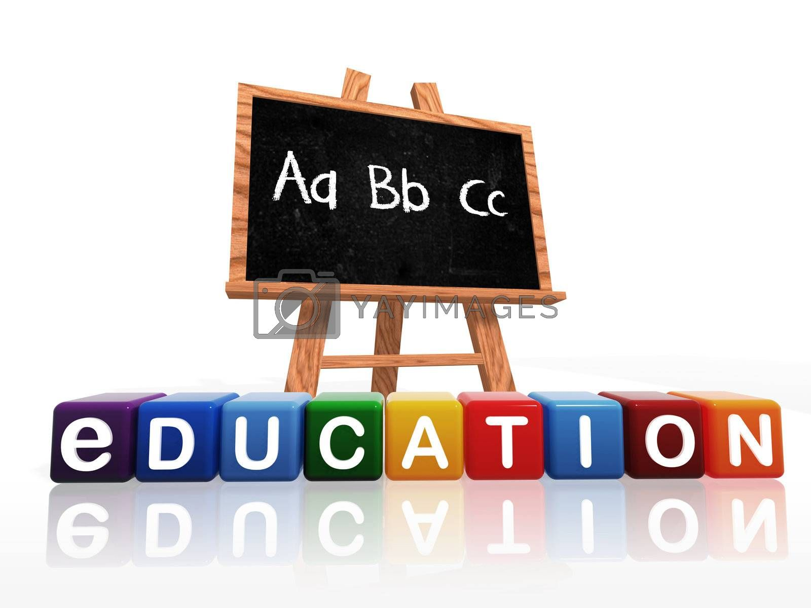 wooden blackboard with text – abc and education text on boxes