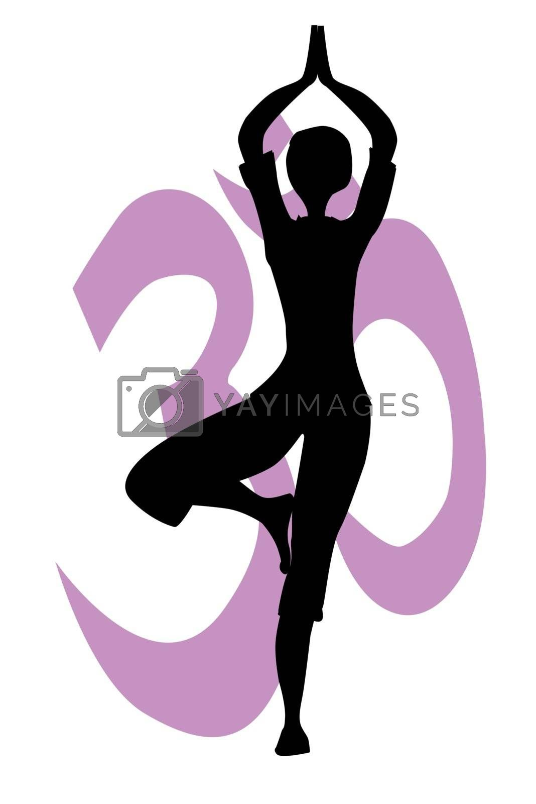 A tree asana posed against n Om sign all isolated on a white background.