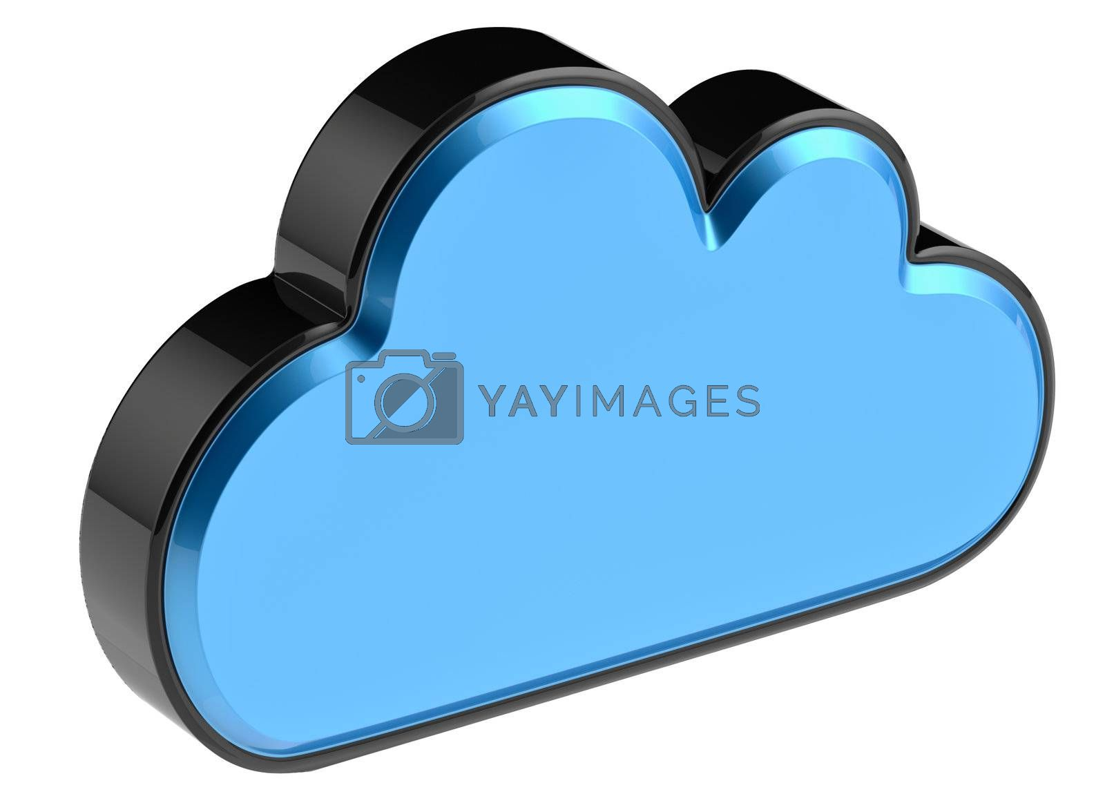 Cloud computing and storage internet security concept as is blue glossy cloud icon on white background
