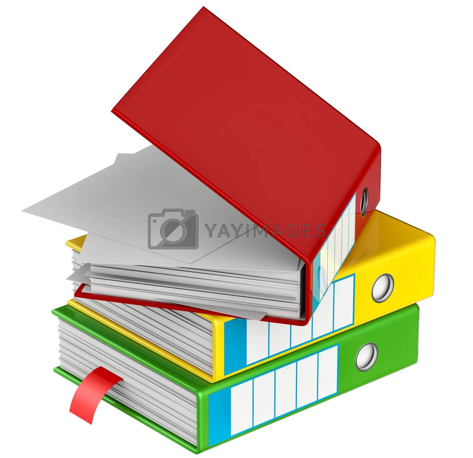 red, yellow, blue, green and black folders stores important documents on abstract background