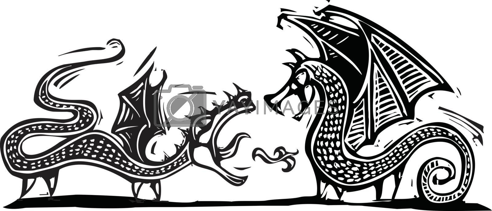 Woodcut expressionist style image of two fighting dragons