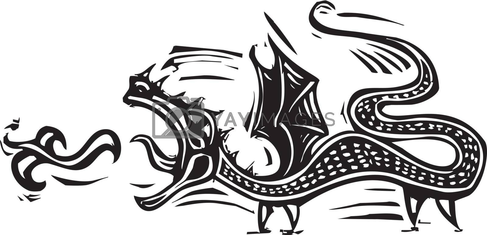 Woodcut expressionist style image of a fire breathing dragon.