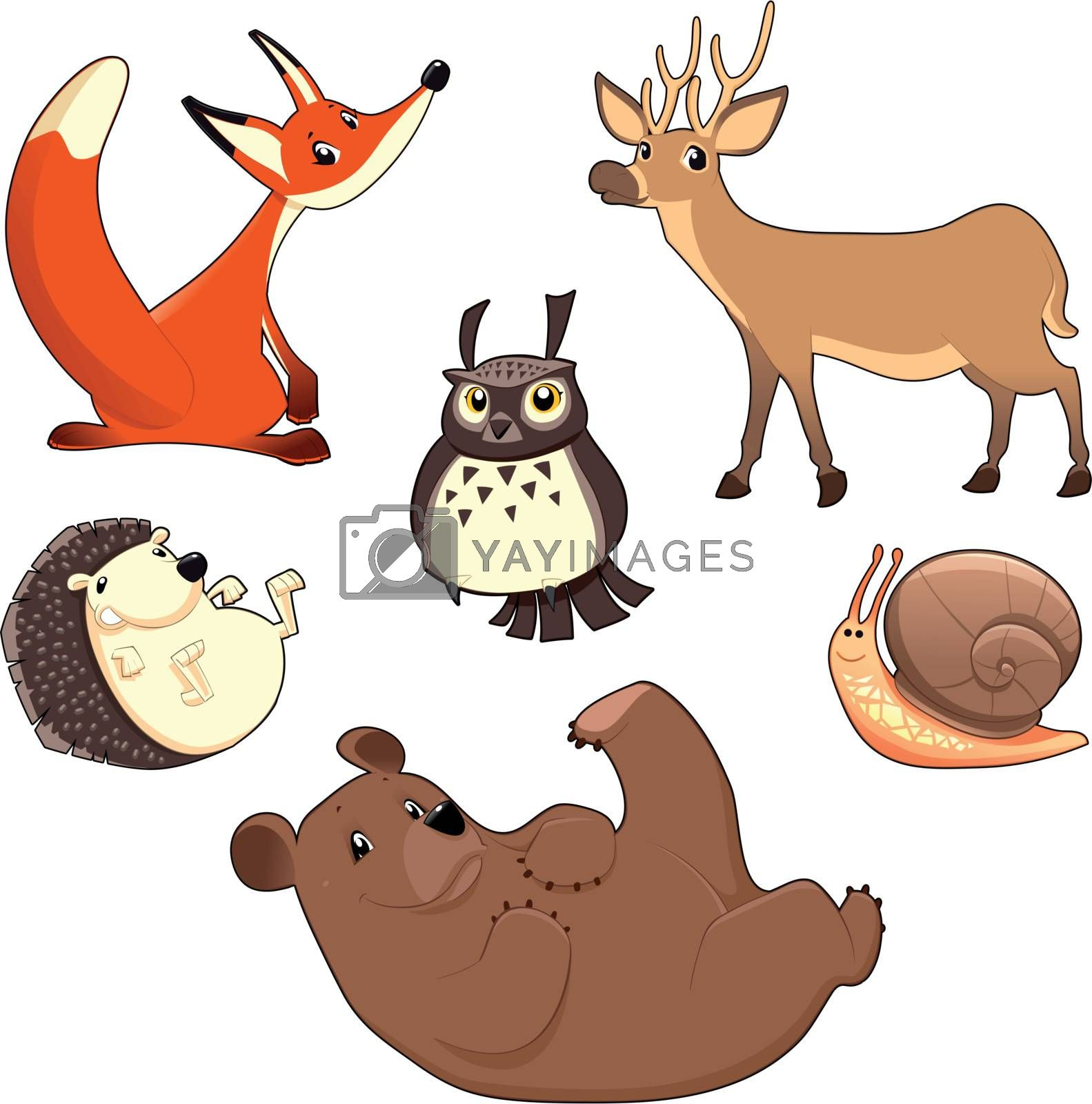 Wood Animals. Funny cartoon and vector isolated characters.